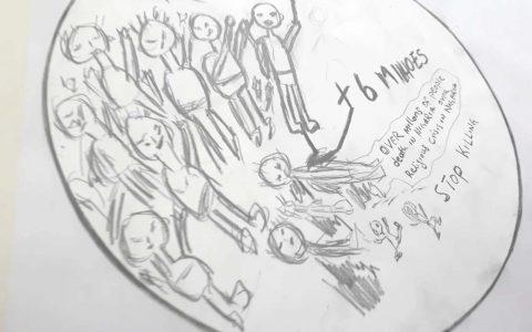 """Instalação """"Desenhos sonoros: refugiados e identidades em fluxo"""""""